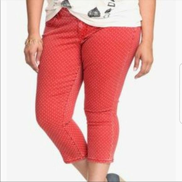 Torrid pants red and white polka dot capri reposh poshmark red and white polka dot capri reposh sisterspd